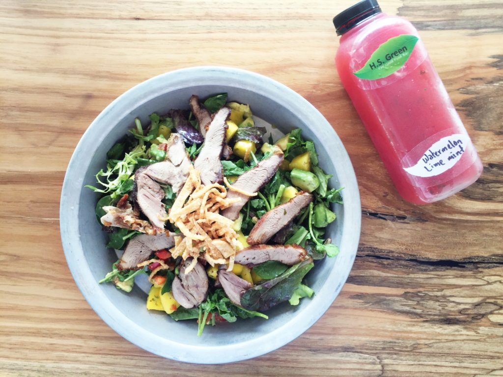 H.S. Green's Crispy Duck and Watercress salad goes well cold-pressed watermelon, lime and mint juice.